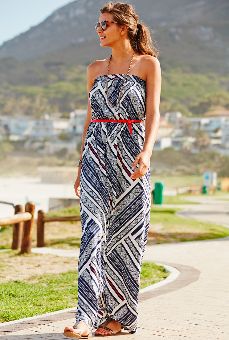 63e5617c951 Long Tall Sally Tile Print Bandeau Maxi Dress - Glamazini