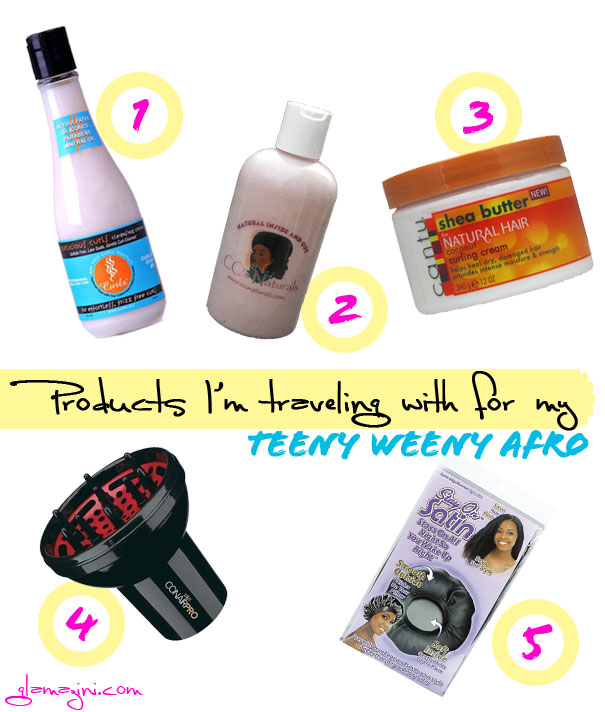 Products I'm traveling with for my teeny weeny afro twa