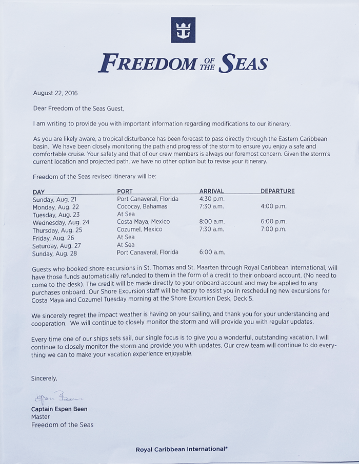 Royal Caribbean International Freedom of the Seas Cruise Ship Itinerary Change