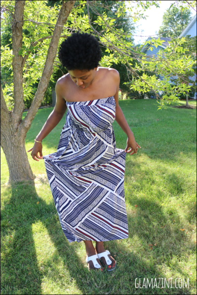 TILE PRINT BANDEAU MAXI DRESS
