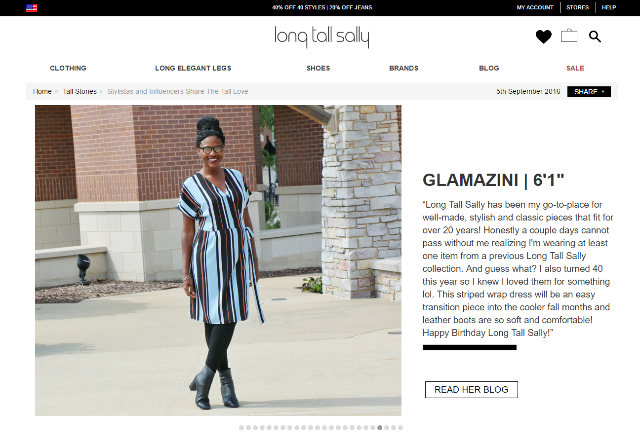 Bloggers featured on Long Tall Sally website
