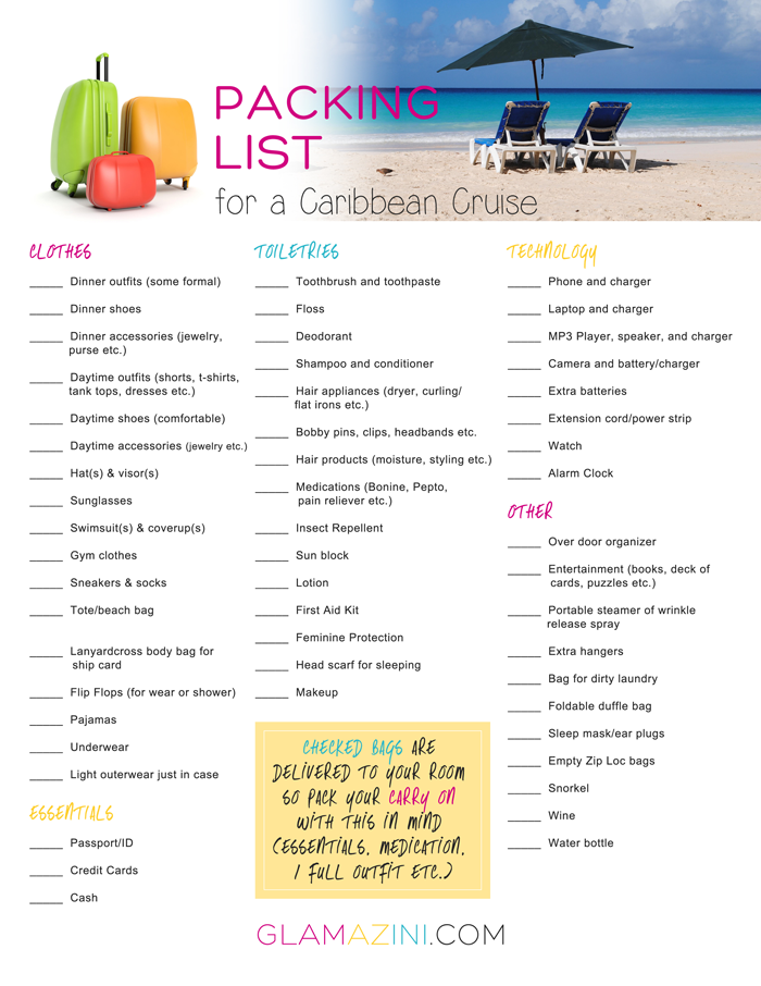 How To Write A Packing List For A Caribbean Cruise