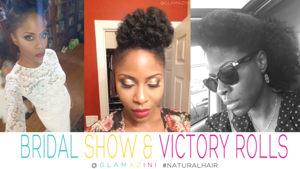 Natural hair for bride bridal show Onyx Bridal Affair Victory Rolls